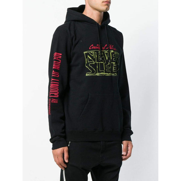 MARCELO BURLON Never Sleep Rear Cat Motif Hoodie, Black-OZNICO