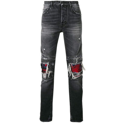 MARCELO BURLON Skull Biker Jeans, Light Wash-OZNICO