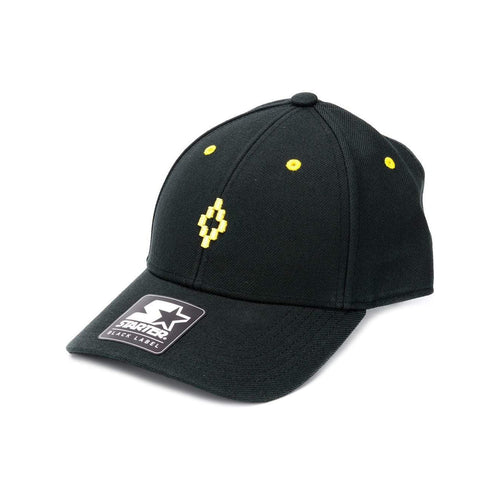 MARCELO BURLON Starter Cross Cap, Black/ Yellow-OZNICO