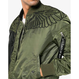 MARCELO BURLON Wings Alpha MA-1 Jacket, Black/ Green-OZNICO