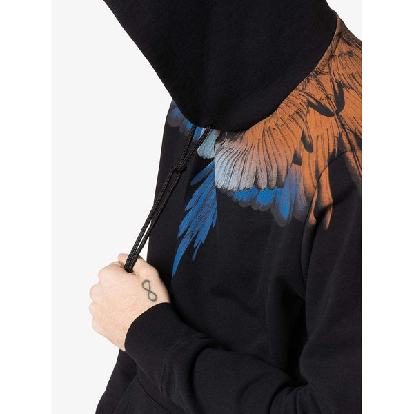 MARCELO BURLON Wings Print Hoodie, Black/ Orange-OZNICO