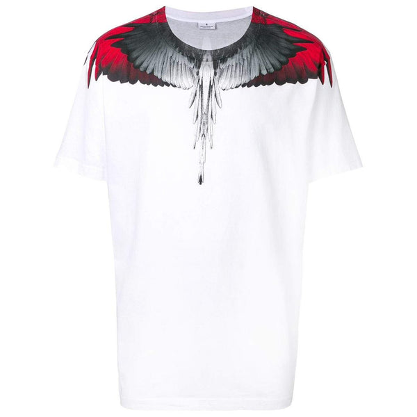 MARCELO BURLON Wings Print T-Shirt, White/ Red-OZNICO