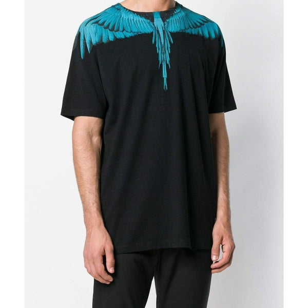 MARCELO BURLON Wings Printed T-Shirt, Black/ Light Blue-OZNICO