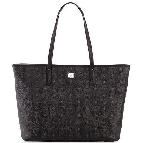 MCM Anya Large Top Zip Shopper, Black-OZNICO