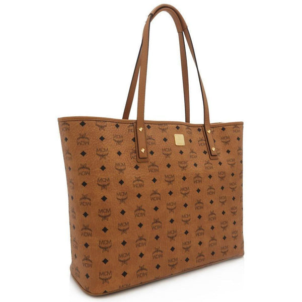 MCM Anya Large Top Zip Shopper, Cognac-OZNICO