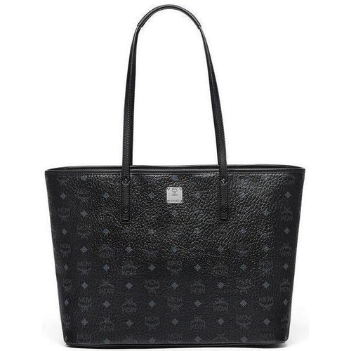 MCM Anya Medium Top Zip Shopper, Black-OZNICO