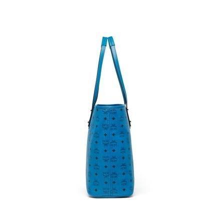 MCM Anya Medium Top Zip Shopper, Blue-OZNICO