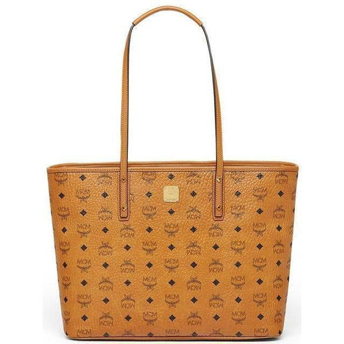 MCM Anya Medium Top Zip Shopper, Cognac-OZNICO