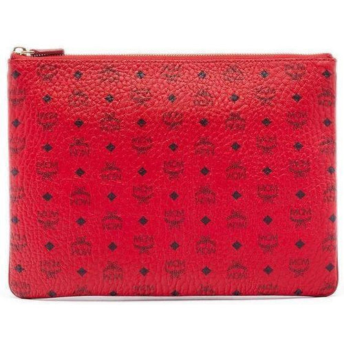 MCM Color Visetos Crossbody Pouch, Red-OZNICO