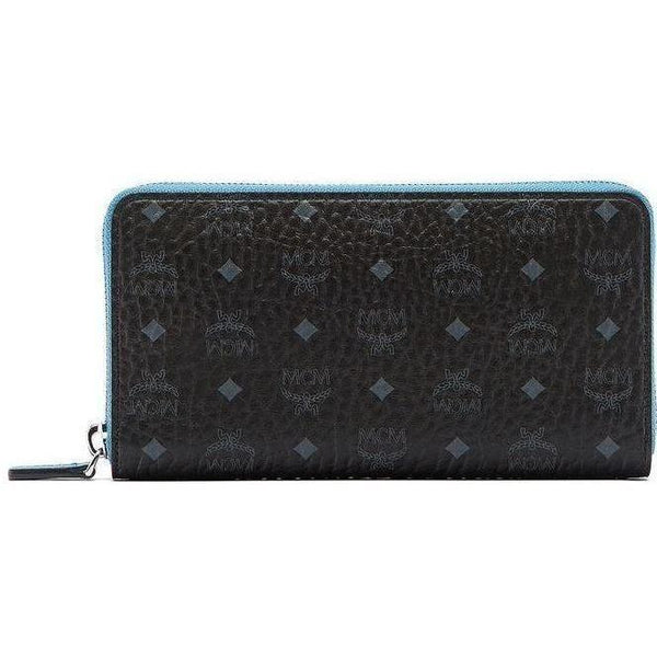 MCM Color Visetos Zip Around Wallet, Black-OZNICO