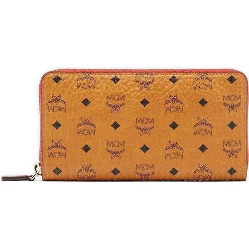 MCM Color Visetos Zip Around Wallet, Cognac-OZNICO