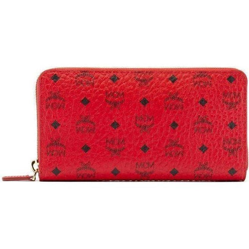 MCM Color Visetos Zip Around Wallet, Red-OZNICO