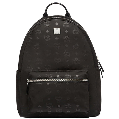 MCM Dieter Teardrop Backpack in Monogram Nylon, Black-OZNICO