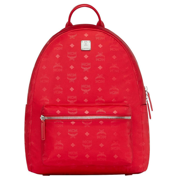 MCM Dieter Teardrop Backpack in Monogram Nylon, Viva Red-OZNICO