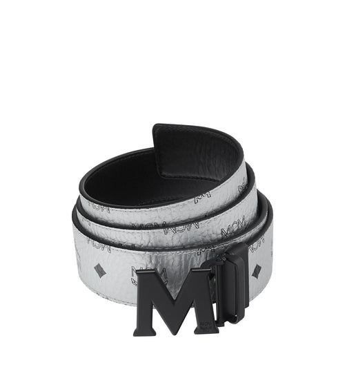 "MCM Flat M Reversible Belt 1.75"" in Visetos, Berlin Silver-OZNICO"