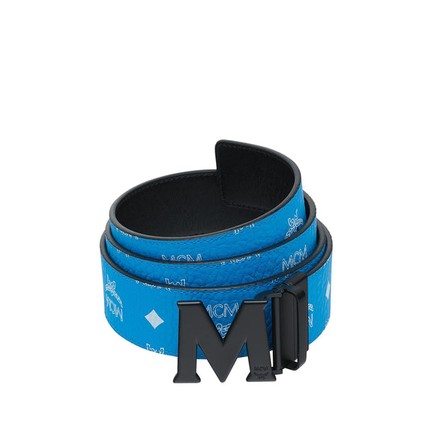 "MCM Flat M Reversible Belt 1.75"" in Visetos, Blue-OZNICO"