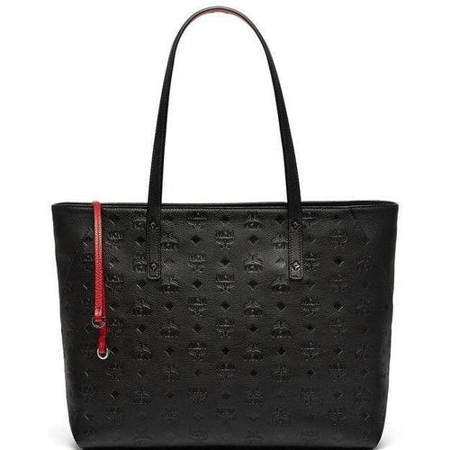MCM Klara Top Zip Shopper In Monogrammed Leather, Black-OZNICO