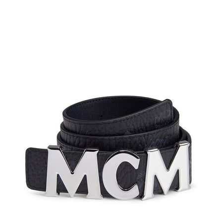 "MCM Flat M Reversible Belt 1.75"" in Visetos, Blue"