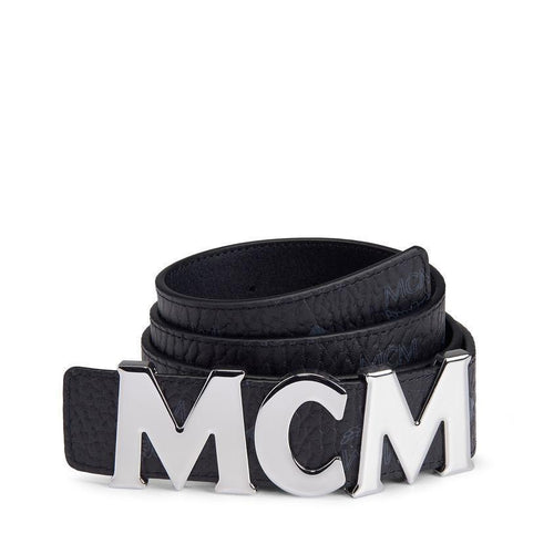 "MCM Letter Belt 1.5"" In Visetos, Black-OZNICO"