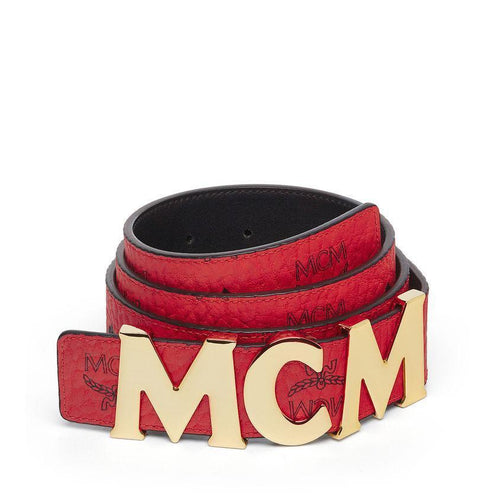 "MCM Letter Belt 1.5"" In Visetos, Ruby Red-OZNICO"