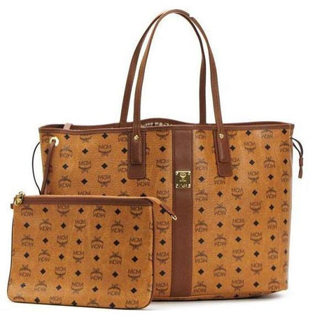 MCM Anya Medium Top Zip Shopper, Cognac