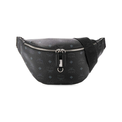 MCM Logo Print Belt Bag, Black-OZNICO