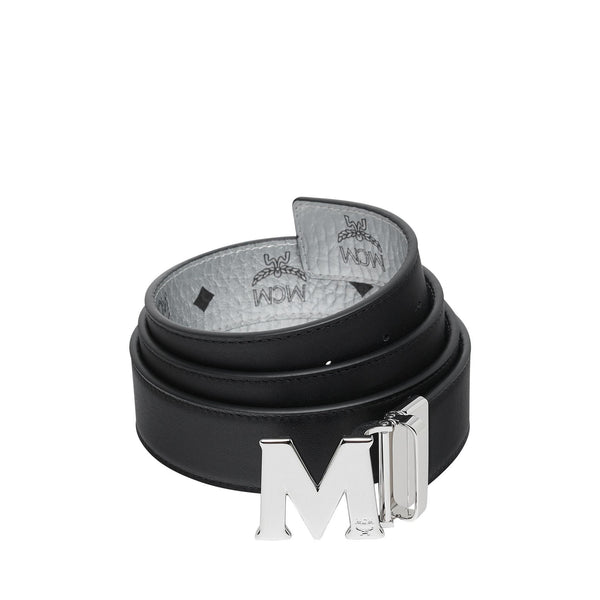 "MCM M Reversible Belt 1.5"" in Visetos, Berlin Silver-OZNICO"