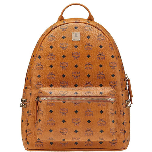MCM Stark Side Stud Backpack, Cognac-OZNICO