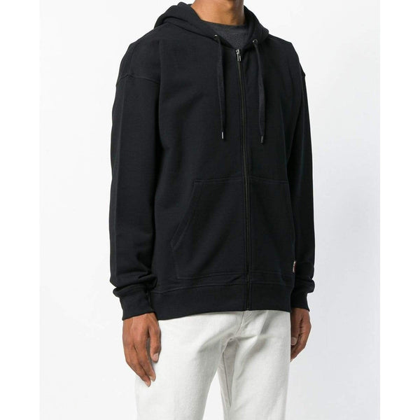 MOSCHINO Front Zip Printed Hoodie, Black-OZNICO