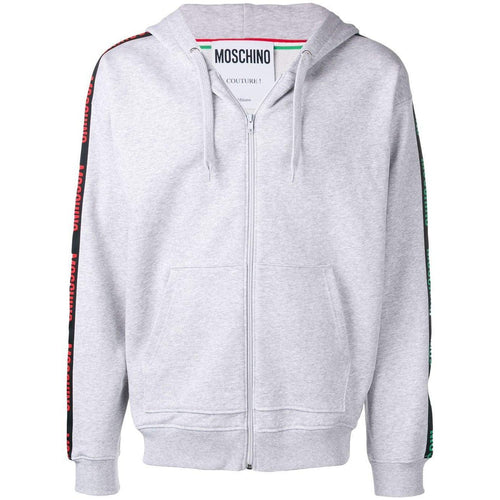 MOSCHINO Logo Band Hooded Sweatshirt, Grey Melange-OZNICO