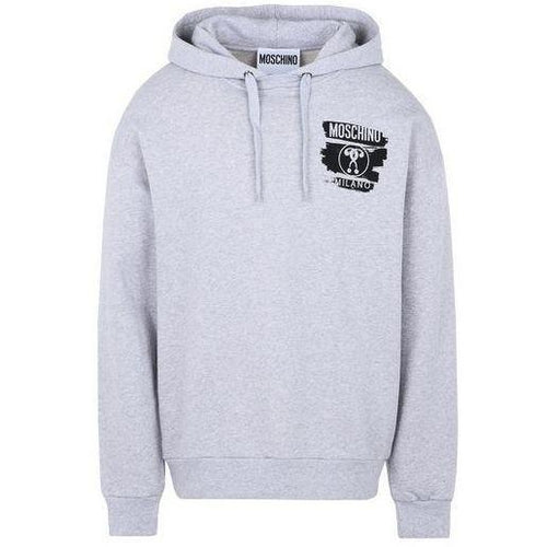 MOSCHINO Logo Hooded Sweatshirt, Grey-OZNICO