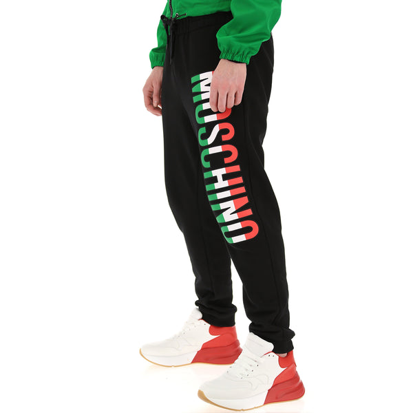 MOSCHINO Logo Print Sweatpants, Black-OZNICO