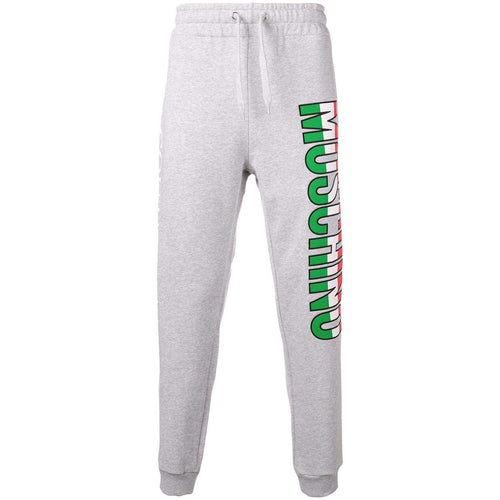 MOSCHINO Logo Print Sweatpants, Grey-OZNICO