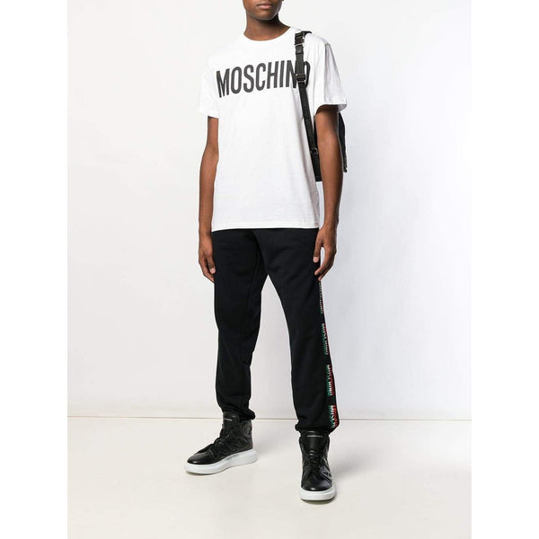MOSCHINO Logo Stripe Sweatpants, Black-OZNICO