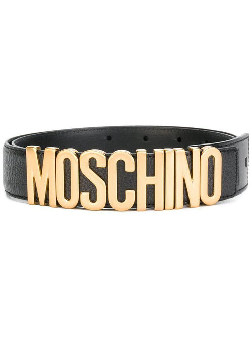 MOSCHINO Men's Textured Logo Belt, Black-Gold-OZNICO