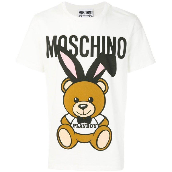 MOSCHINO Playboy T-shirt, White-OZNICO