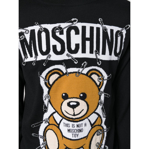 MOSCHINO Safety-Pin Bear Sweater, Black-OZNICO