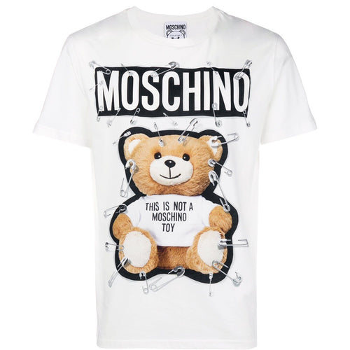 MOSCHINO Safety-Pin Bear T-Shirt, White-OZNICO