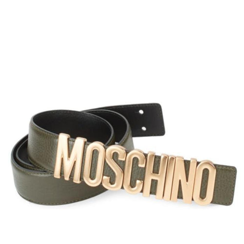 MOSCHINO Textured Logo Belt, Green-OZNICO