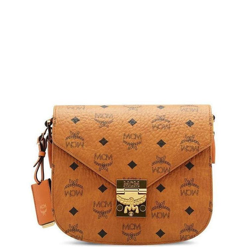 Patricia Shoulder Bag In Visetos, Cognac-OZNICO