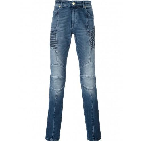 PIEERE BALMAIN Moto Jeans, Light Wash-OZNICO