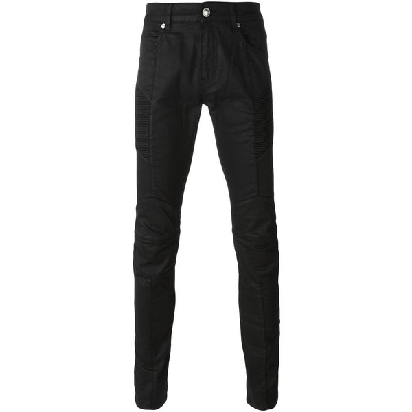 PIERRE BALMAIN Coated Moto Jeans, Black-OZNICO