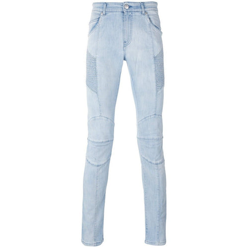PIERRE BALMAIN Moto Jeans, Light Blue Denim-OZNICO