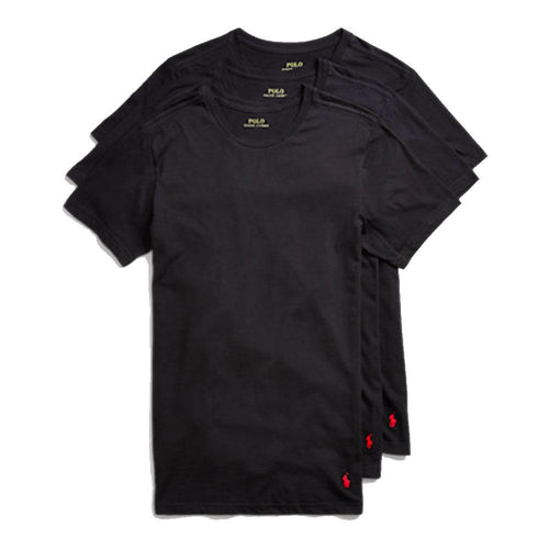 POLO RALPH LAUREN 3 PACK SLIM FIT CREWNECK T-SHIRTS, BLACK