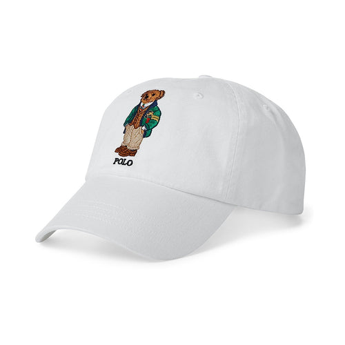 POLO RALPH LAUREN Bear Cotton Baseball Cap, White-OZNICO
