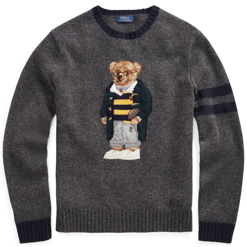 POLO RALPH LAUREN Bear Sweater, Grey Heather-OZNICO