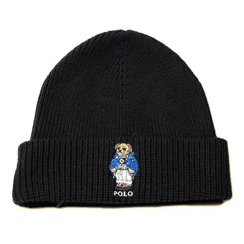 POLO RALPH LAUREN Cashmere Polo Bear Cuff Hat, Black-OZNICO