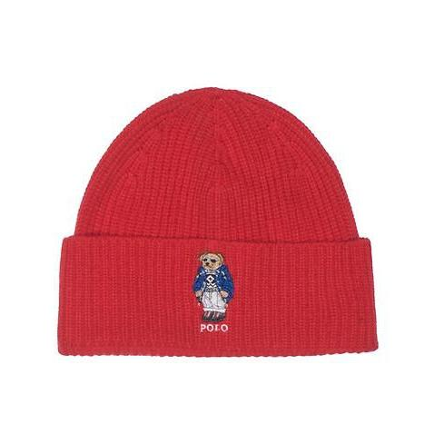 POLO RALPH LAUREN Cashmere Polo Bear Cuff Hat, Red-OZNICO