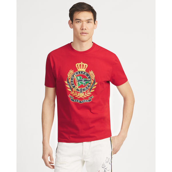 POLO RALPH LAUREN Classic Fit Cotton Graphic Tee, Red-OZNICO