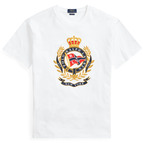 POLO RALPH LAUREN Classic Fit Cotton Graphic Tee, White-OZNICO